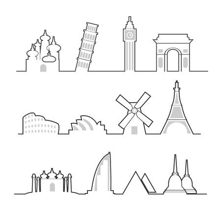 Travel location landmark icons set line