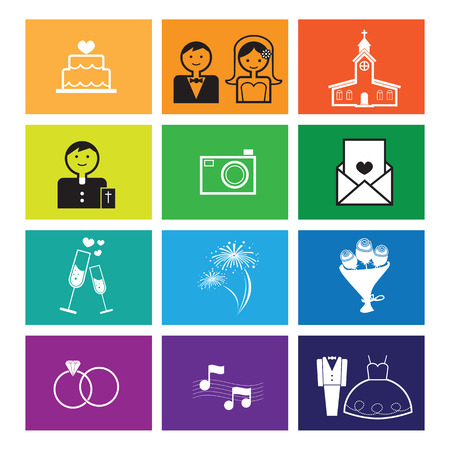 father of the bride: Wedding ceremony icons set vector flat line