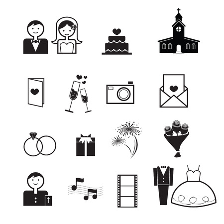 father of the bride: Wedding ceremony icons set vector