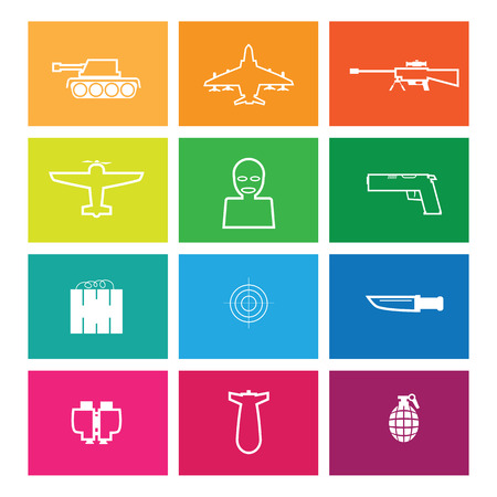 bullets: War gun bomb and bullets icons set Illustration