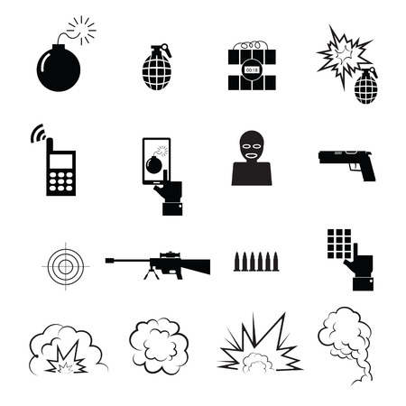 military beret: Terrorist spy icons set vector Illustration