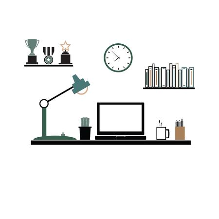 Office desk workspace computer vector
