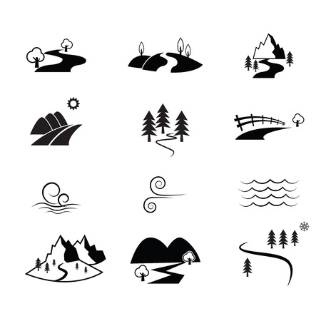 rolling hills: Road countryside view vector icon