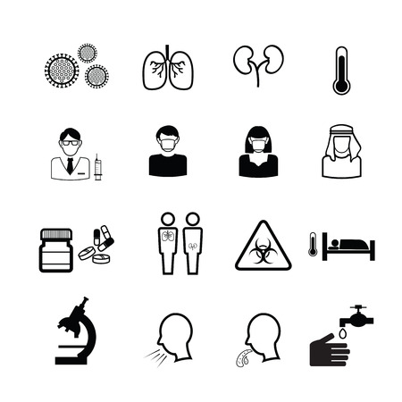 MERS Middle East Respiratory Syndrome Flu icons vector