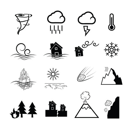 landslide: Disaster nature power icons set Illustration