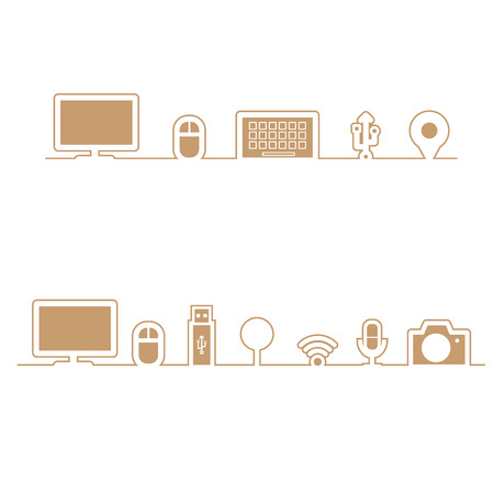 align: Computer icons align in line flat Illustration