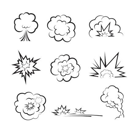 blasting: Bomb blasting balloon drawing vector Illustration
