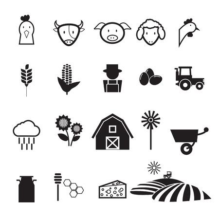 harrow: Agriculture farm icons set flat