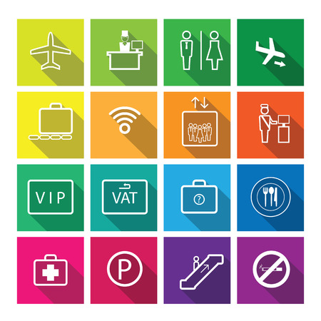 airport sign: Airport sign icons set vector Illustration