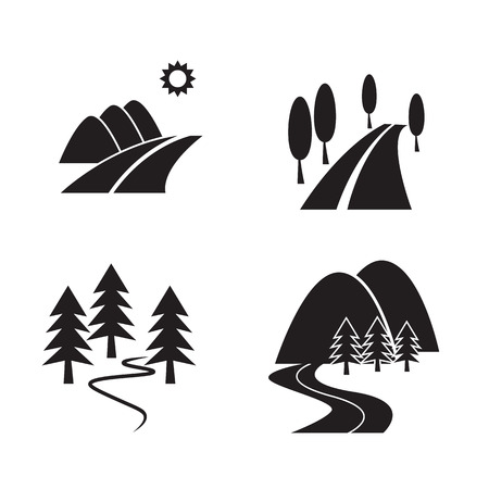 country road: Country road view icons vector Illustration