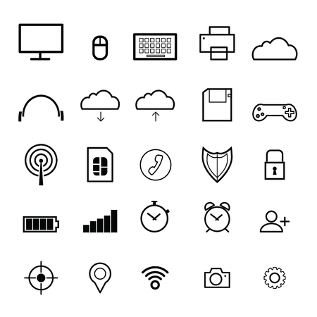computer icons: Computer icons set flat line