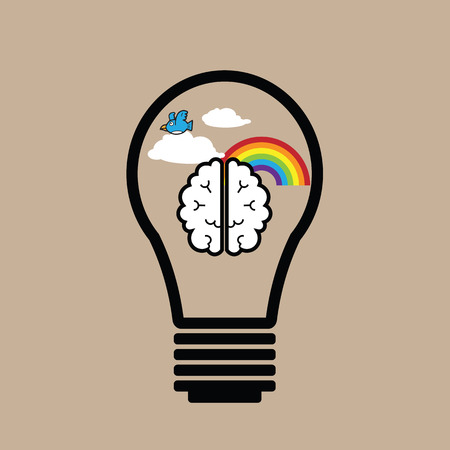 balance icon: Bulb brain idea nature balance icon vector