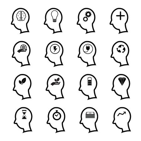 positief: Positief denken pictogrammen instellen man
