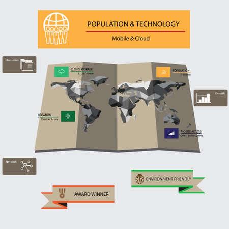 poblacion: Población Mapa del mundo y la tecnología infografía