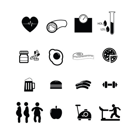 Cholesterol and diabetes icons set vector