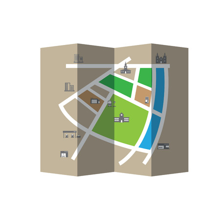 City map road and direction vector folded Vector