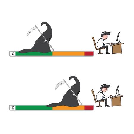deadline: Man deadline grim cartoon vector