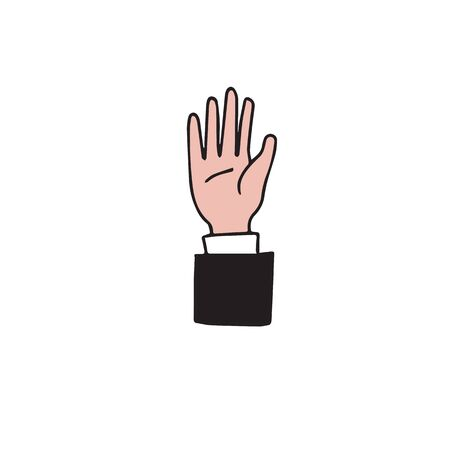 participate: Hand up business support vector Illustration