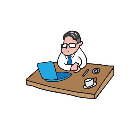 computer cartoon: Businessman working with computer cartoon