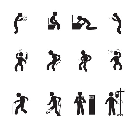 People sick icons set vector silhouette