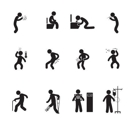 enfermo: Iconos de personas enfermas establecen vector de la silueta