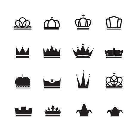 crown silhouette: Corona silhouette disegno vettoriale set Vettoriali