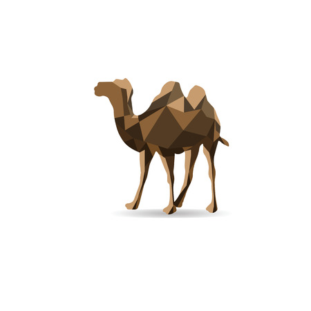 sand asia: Camel polygon shape animal vector Illustration