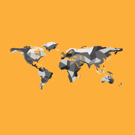 zeměpisný: Mapa světa polygon zeměpisný vektor Ilustrace