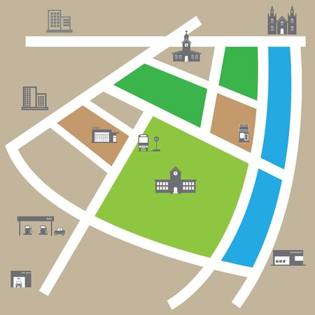 City map road and direction vector Vector