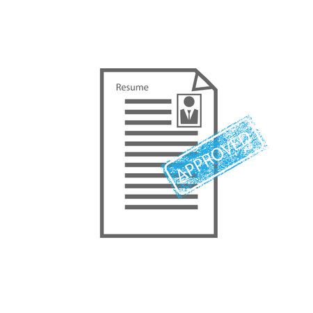 Approved stamp sign resume male vector