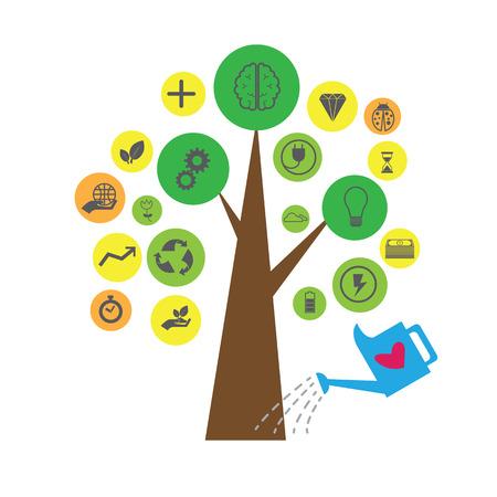 positief: Positief denken idee groeien met hart