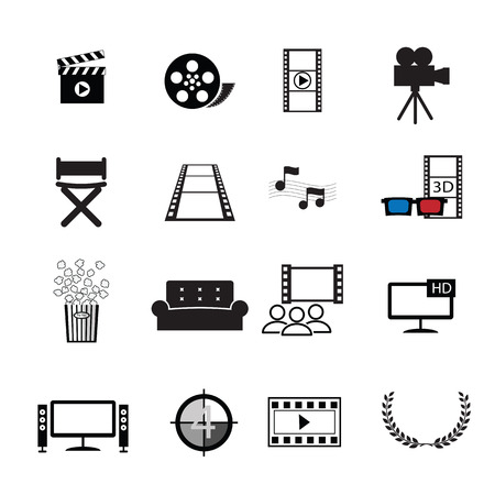 movie and popcorn: Movies cinema icons set vector Illustration