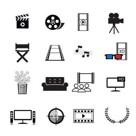 cinta de pelicula: Películas cine iconos conjunto de vectores