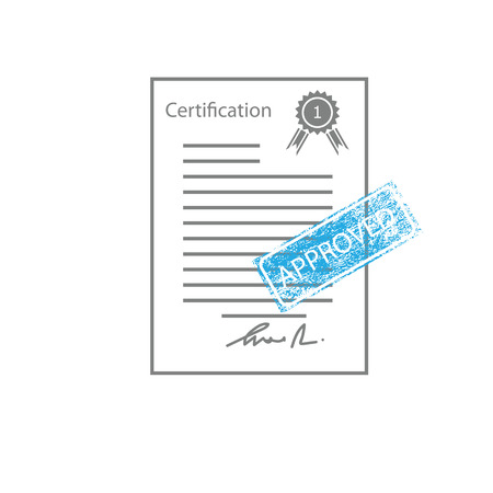 certificated: Approved quality control certificated vector