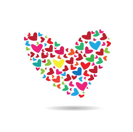 compose: Hearts compose to heart shape vector Illustration