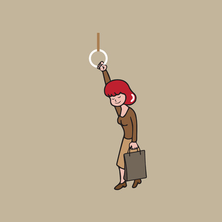 commute: Woman standing in subway cartoon vector
