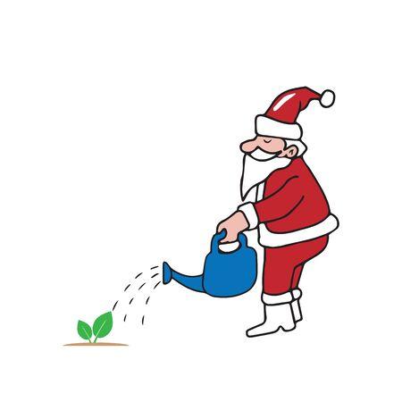 Santa watering small tree cartoon vector Illustration