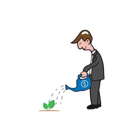 plant stand: Man watering small tree cartoon vector Illustration