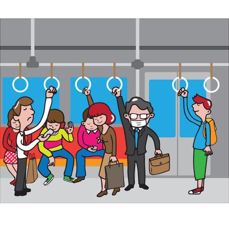 tren caricatura: Hombre de negocios con la prevención MERS máscara