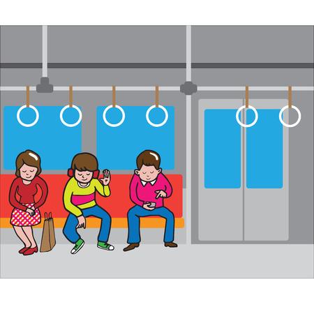 metro train: People in subway mass transportation
