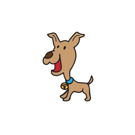 wagging: Dog cartoon character drawing vector Illustration