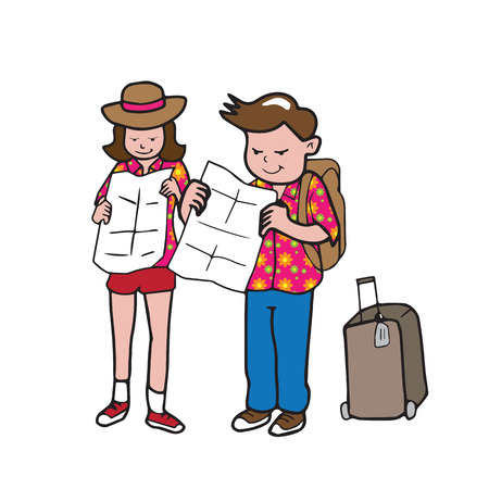 traveler: Traveler map and luggage cartoon vector family