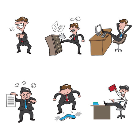 asian manager: Angry people business office character vector