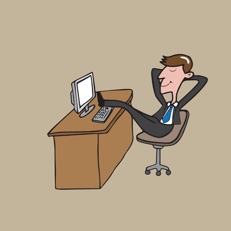 person computer: Businessman relaxing put legs on desk