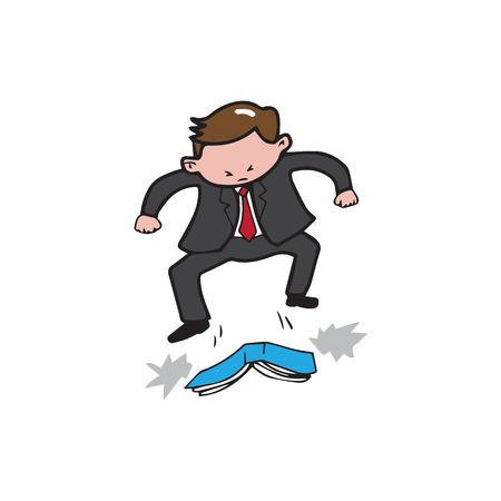 trample: Businessman angry trample on book Illustration