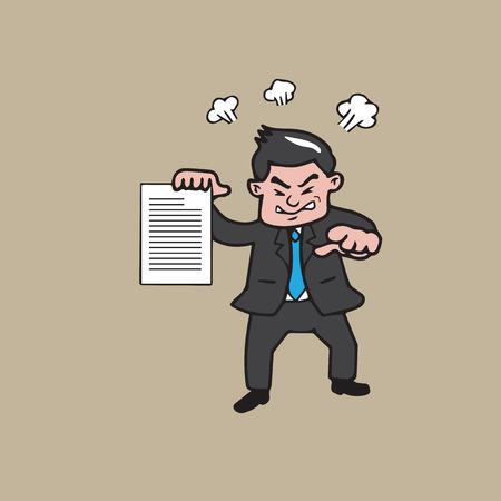 accuser: Homme d'affaires en col�re et pointant vecteur de bande dessin�e Illustration