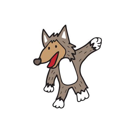狼漫画文字ベクトル描画