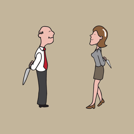 Businesspeople with knifes behind cartoon vector