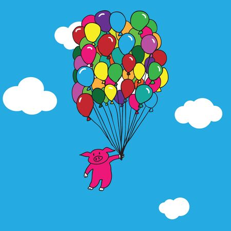 flying pig: Pig flying with balloons cartoon vector