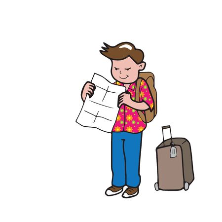 reiziger: Reiziger kaart en bagage cartoon vector Stock Illustratie
